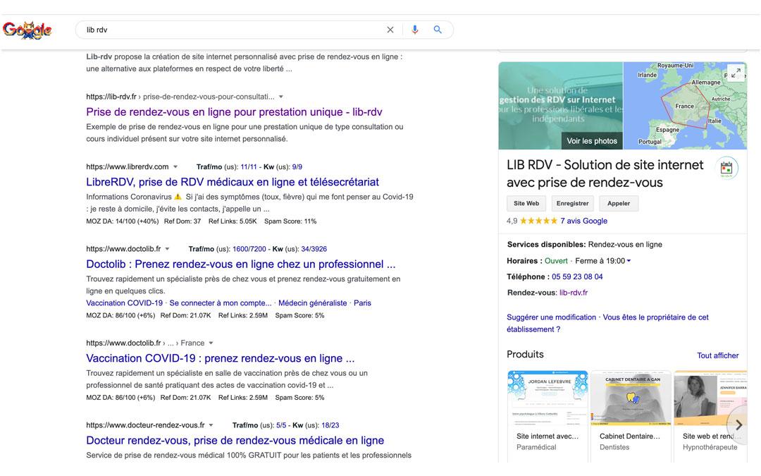 Cpature d'écran, exemple de fiche google My business