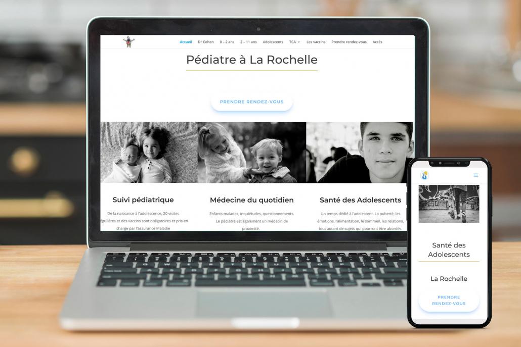 Exemple de création d'un site internet avec rendez-vous pour pédiatre